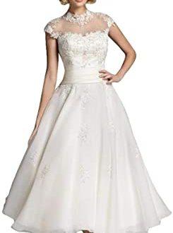 Fenghuavip Vintage Tea Length Bride Wedding Dress Hepburn Style .