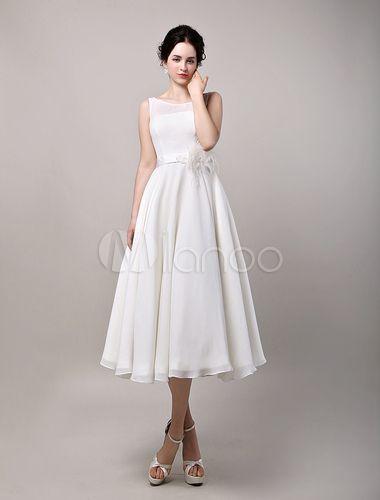 Vintage Retro Chiffon Tea Length Wedding Dress - Milanoo.com .