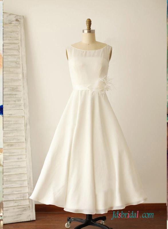 H1521 Simple vintage tea length chiffon wedding dress