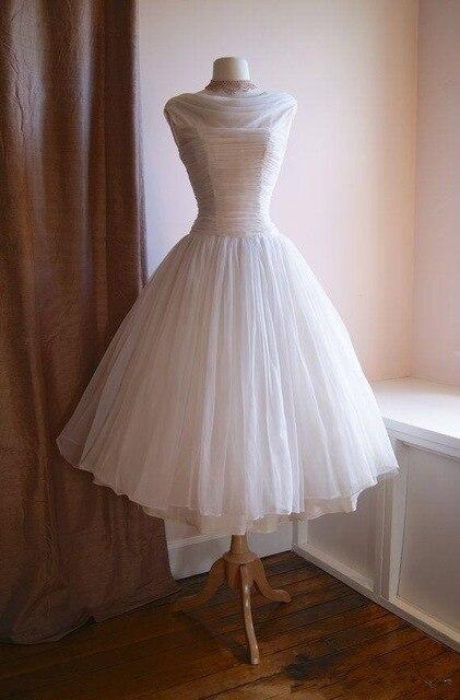 Vintage 1950's Tea Length Wedding Dresses Cowl Neck Pleats Chiffon .