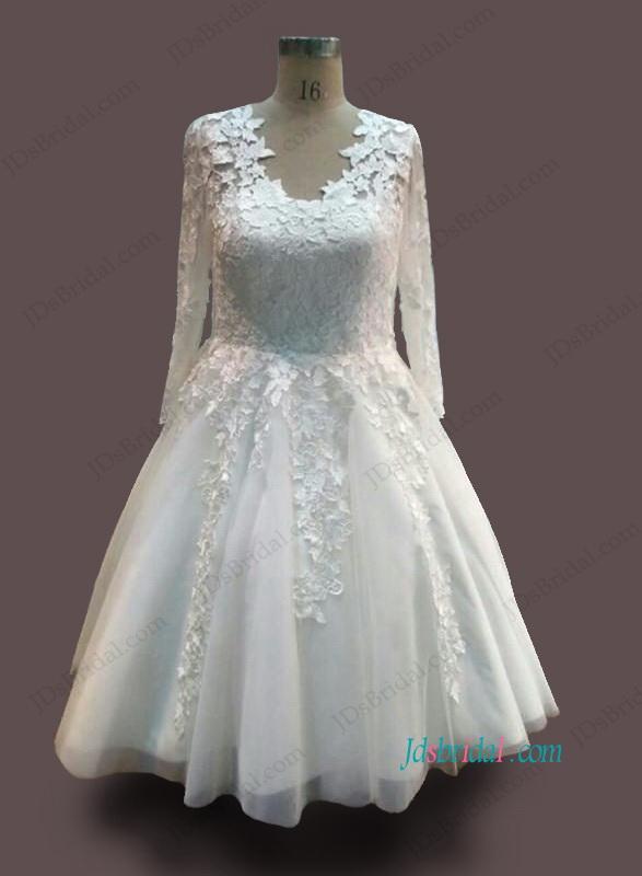 H1091 Vintage illusion lace long sleeved tea length wedding dress
