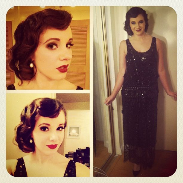 Created this vintage classy hairstyle for a great gatsby party .