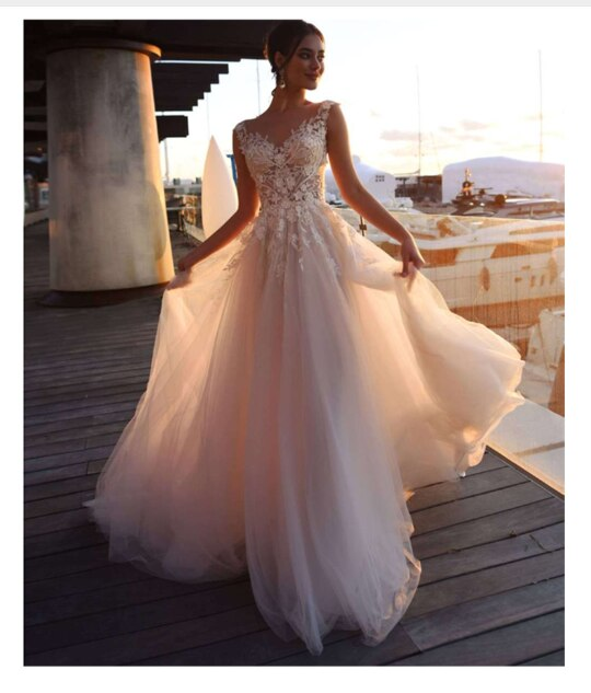 Lace Boho Wedding Dress Mermaid Style Sleeveless Appliqued Lace .
