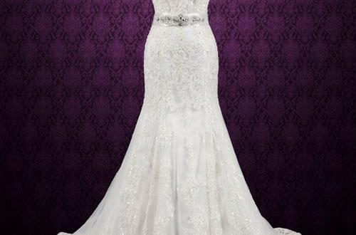Vintage Style Lace Keyhole Back Wedding Dress | Aud