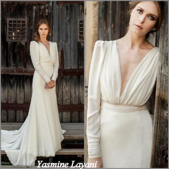 Long sleeve wedding dress chiffon wedding dress romantic wed .