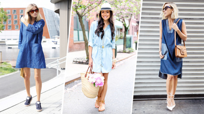 How to Style a Denim Dress For Spring 2015 | StyleCast