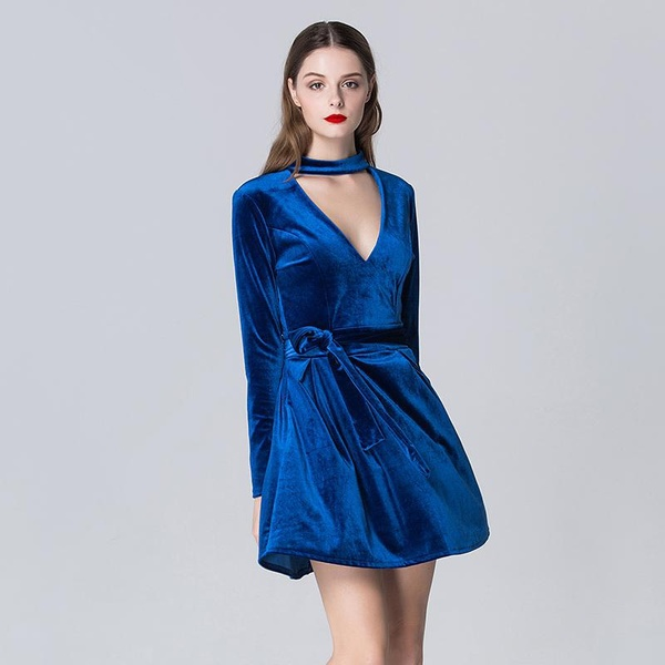 Sexy Velvet Dress Winter V-neck Womens Long Sleeve Velvet Dress .