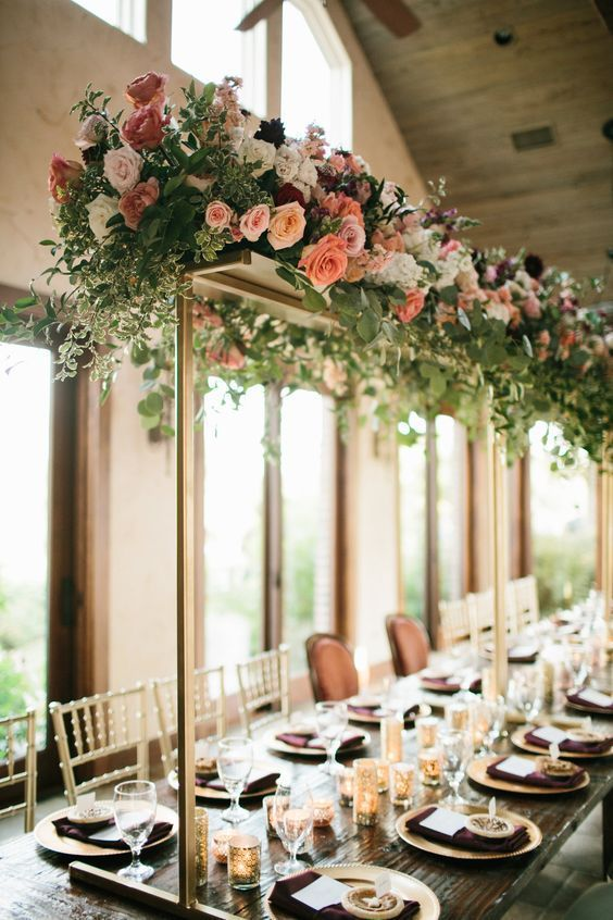 Coral and Blush with Greenery Trellis Tall Wedding Centerpiece .
