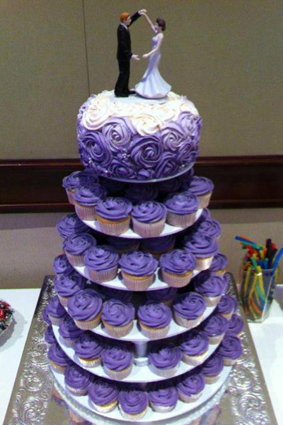 Purple wedding rose cake cupcake tiers. Qupcake Queen Petawawa, ON .