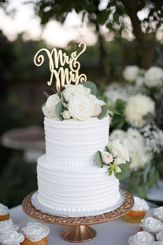 Two-Tier White rustic Wedding Cake | Simple wedding cake, Green .