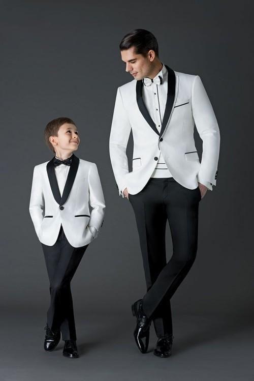 White jacket Black Pants Mens Wedding Suits Groom Tuxedos .