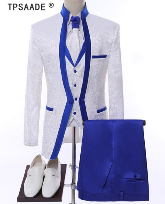 White Royal Blue Rim Stage Clothing For Men Suit Set Mens Wedding .