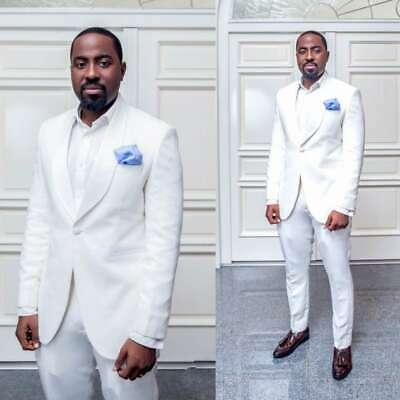 White Groom Tuxedos Men Suits Slim Fit Wedding Jacket Pants 38 40 .