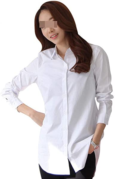 Classical Soft Women Long Sleeve White Shirts Slim Elegant Office .