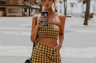 Summer Women's Fashion Hot Sale Bra Plaid Dress Bottom & Top – wenso