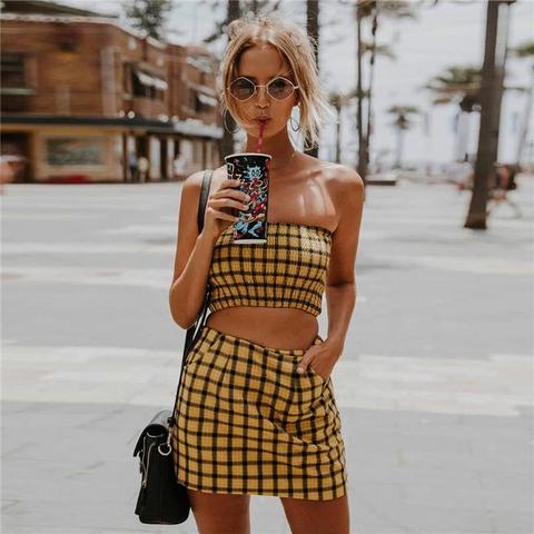 Summer Women's Fashion Hot Sale Bra Plaid Dress Bottom & Top – wenso