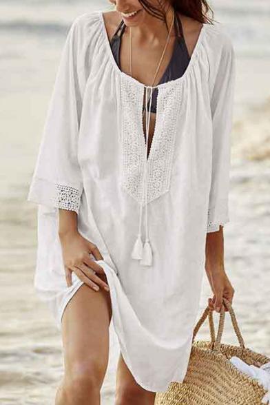 Summer Womens Fashion Simple Plain Long Sleeve Beach Bikini Cover .