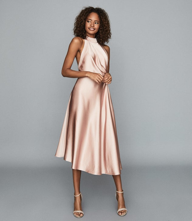 Rita Pink Halterneck Satin Midi Dress – REI