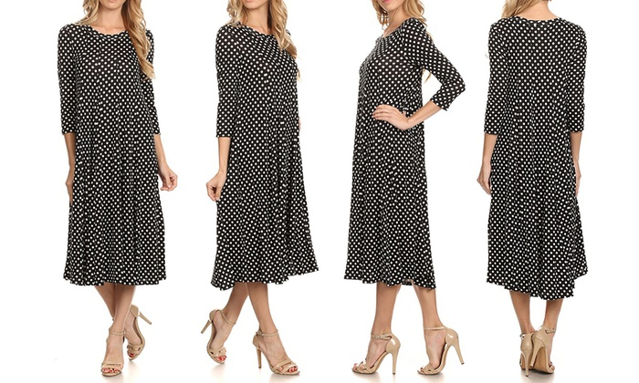 Up To 52% Off on Women's Polka Dot A-Line Dress | Groupon Goo