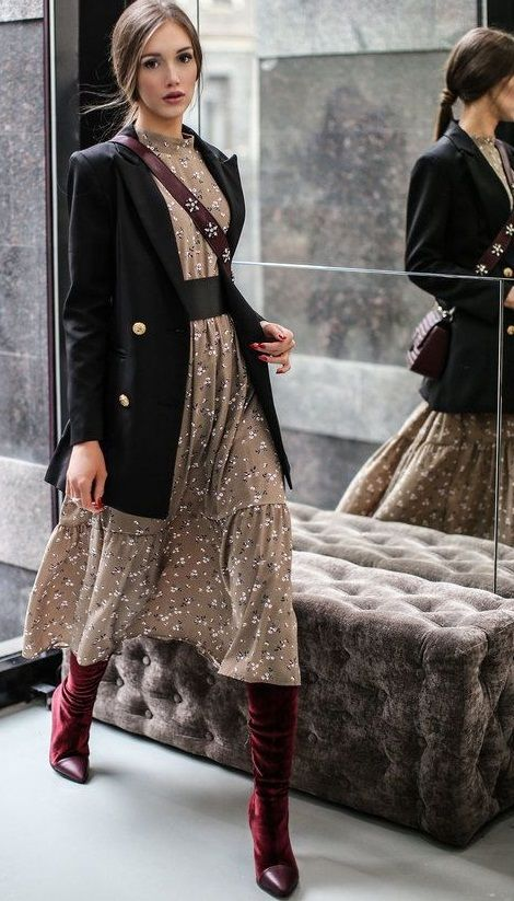 fall style. tea midi dress. blazer. high boots. | Trendy dresses .