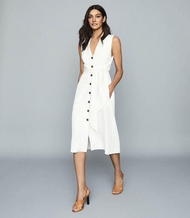Rosalind White Linen Blend Belted Midi Dress – REI