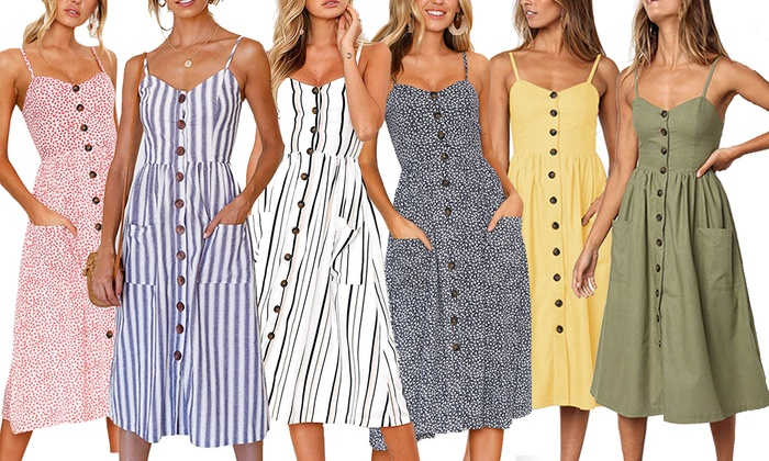 Up To 20% Off on Women's Midi Dress Bohemian S... | Groupon Goo
