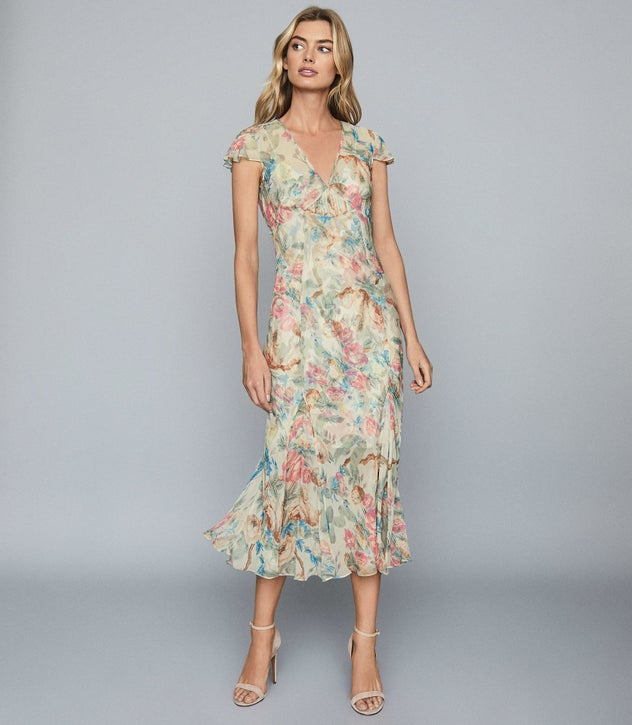 Lilly Pink Floral-Print Chiffon Midi Dress – REI
